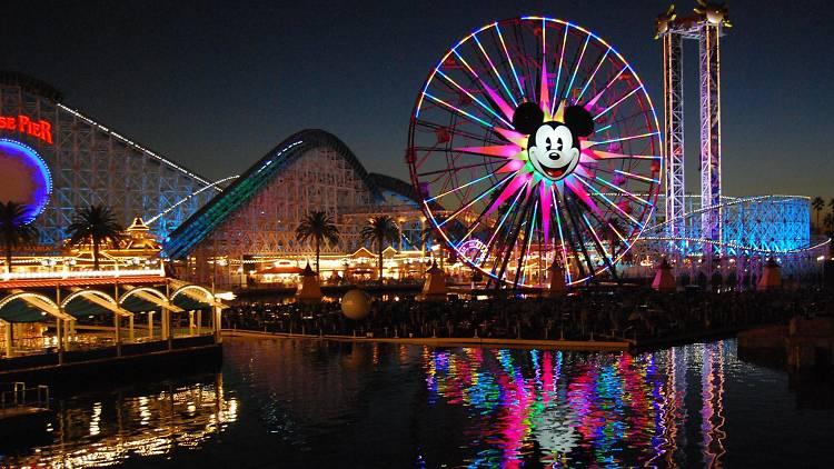 Disneyland at night at Anaheim, California