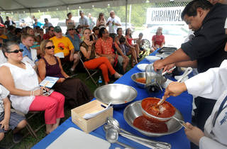 Chef Paul Macry with Le Cordon Bleu at the Cooking Demo Tent at