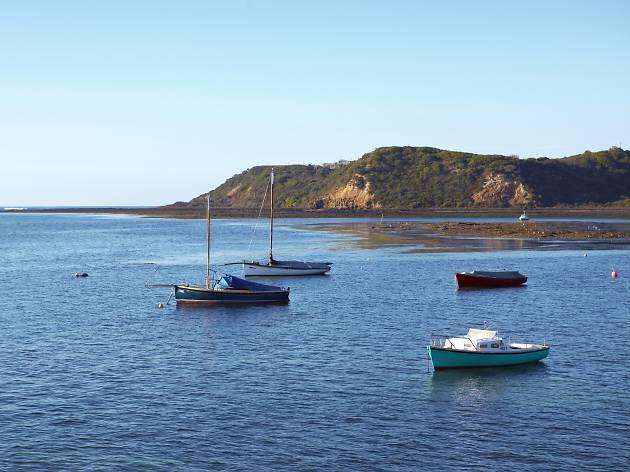 Boats moored at Flinders on the Mornington Peninsula