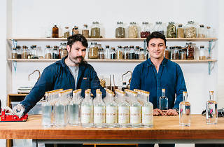 The two gin makers in their factory in Marrickville