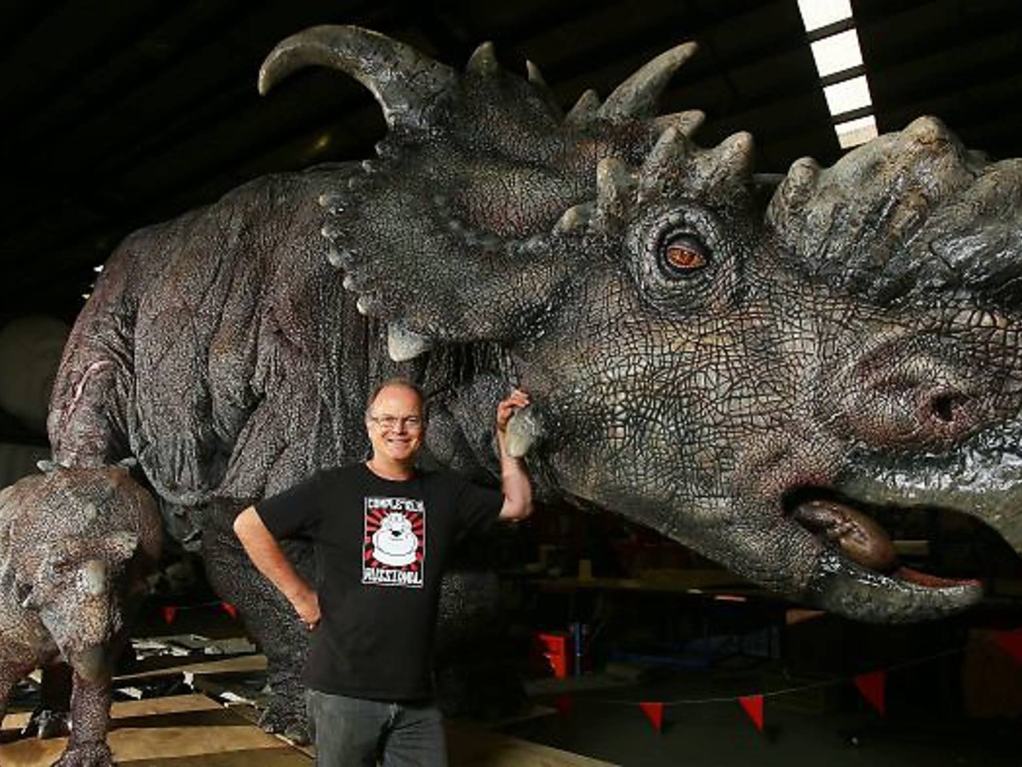 James Millar with pachyrhinosaurus