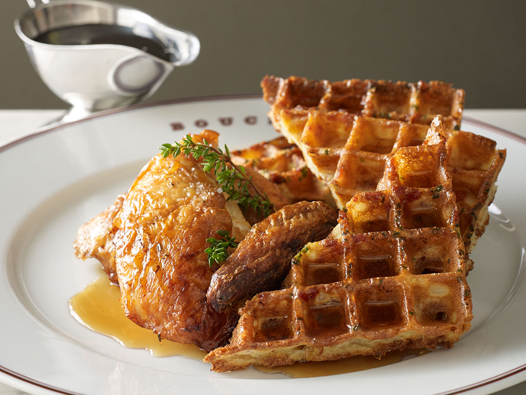 Chicken and waffles at Bouchon Bistro