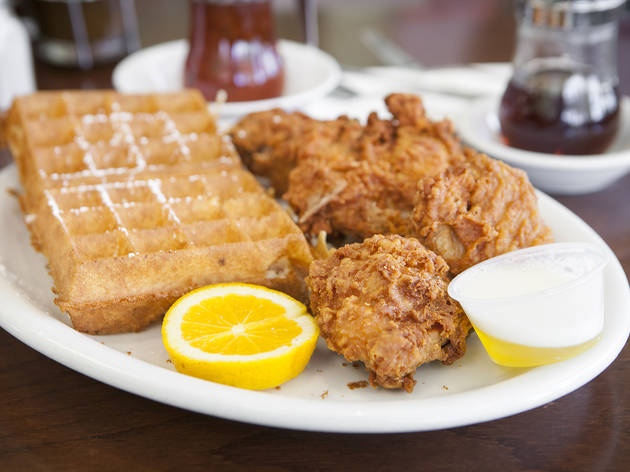 Chicken and waffles at The Hungry Fox
