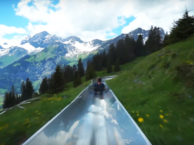 POV video shows how good the view is on this mountain toboggan ride
