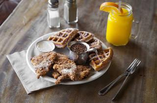 Chicken and waffles at Bon Vivant Café