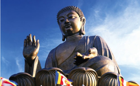 a picture of the Big buddha statue on Lantau Island