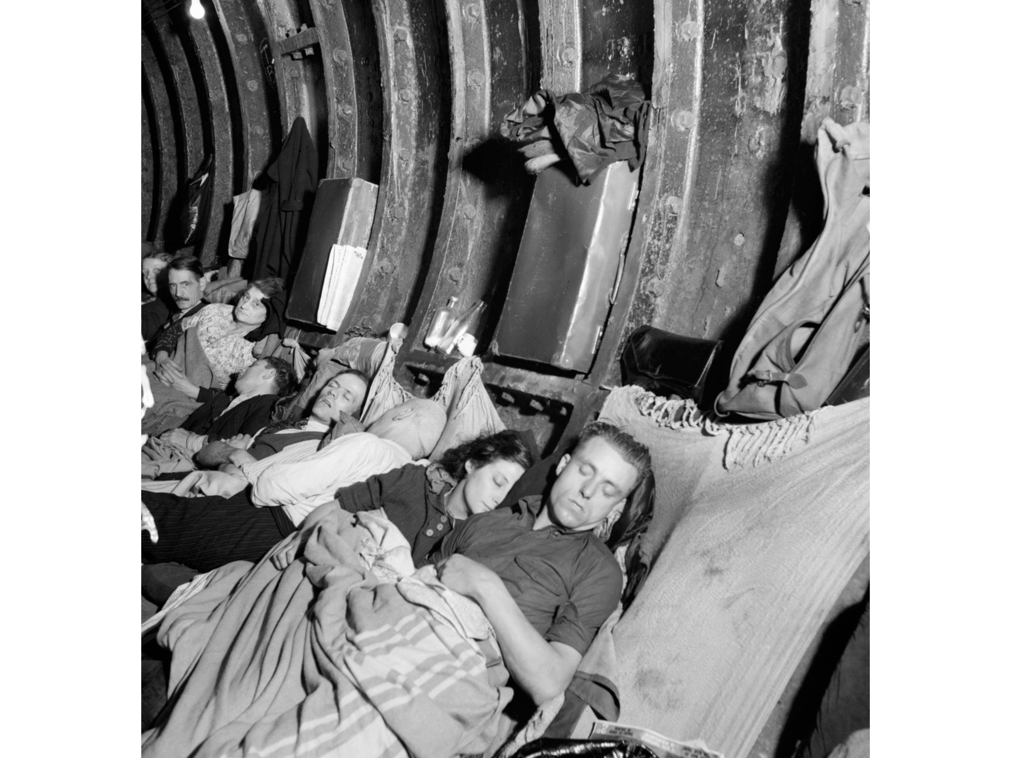 Best London photos: Londoners pass the night in a train tunnel near Liverpool Street Underground station at the height of the Blitz, November 1940