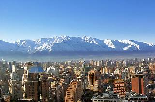 Overlooking the rooftops of Santiago, Chile towards the Andes