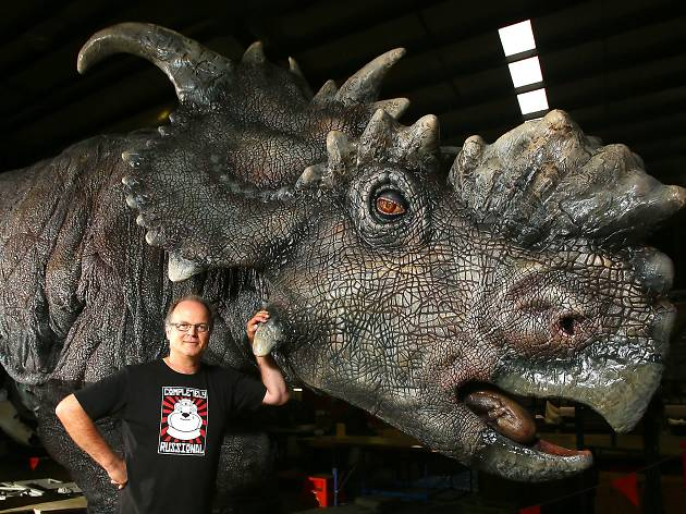 Philip Millar from Creature Technology with one of the Jurassic World dinosaurs