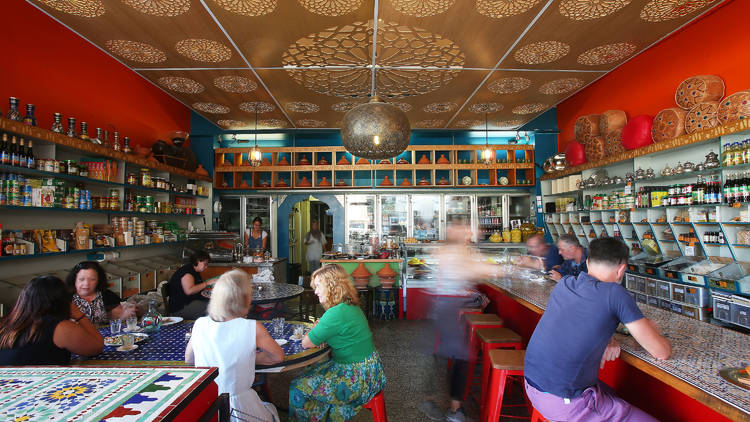 Customers at Moroccan Soup Bar Deli-cacy