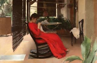 Cosint, dona amb vestit vermell, de Ramon Casas