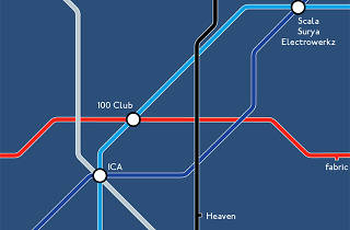 This tube map shows all the clubs you'll be able to get to once the night tube launches