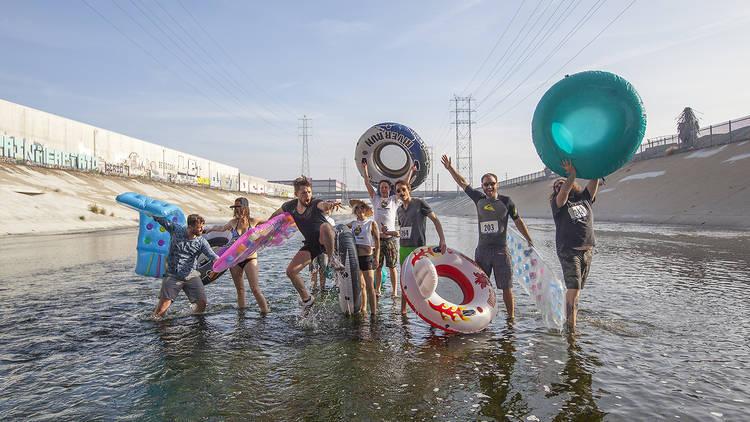 L.A.zy River inner tube race down the LA River