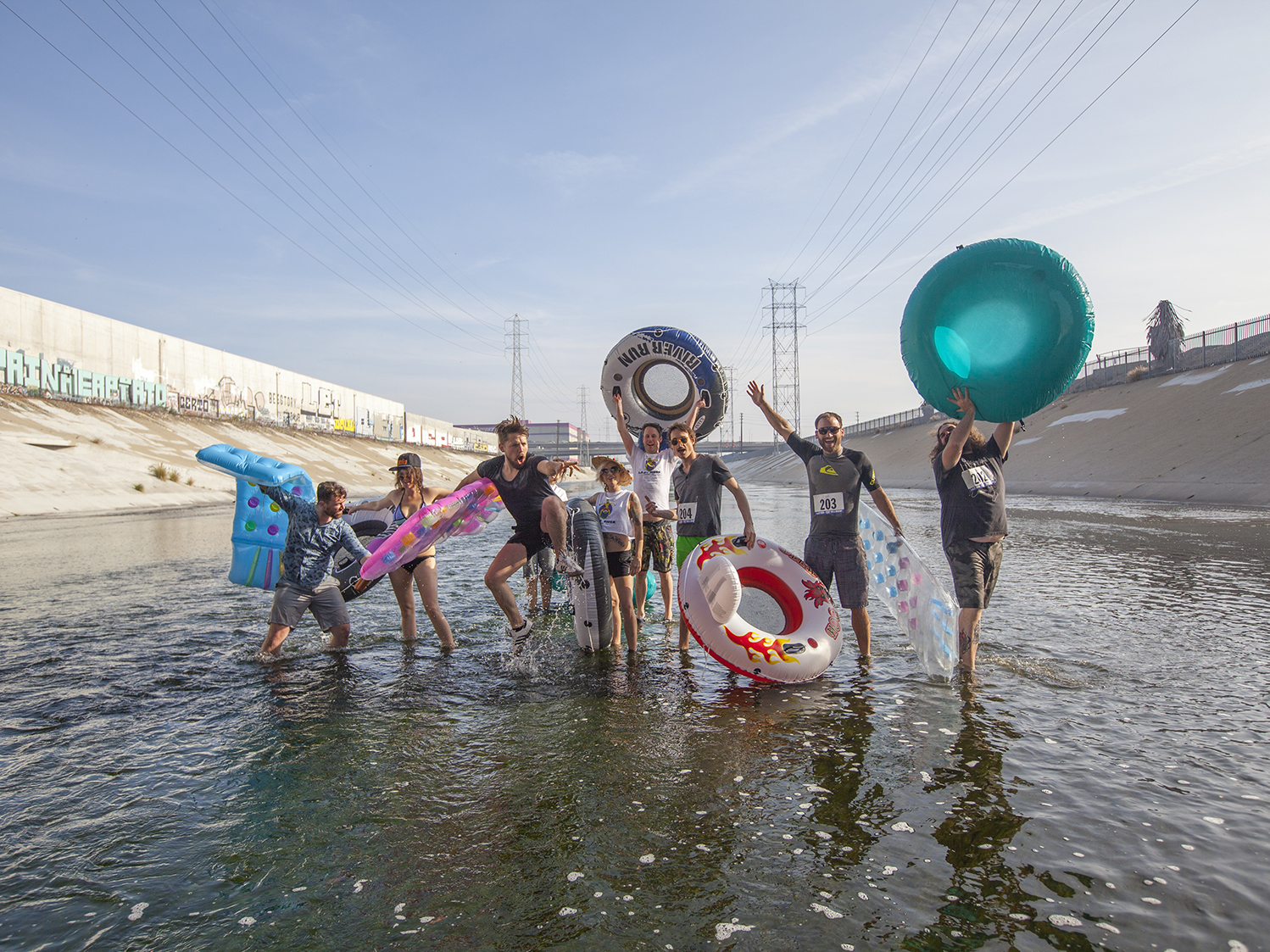 Surprise! The L.A.zy River inner tube race actually happened, and we've got photos