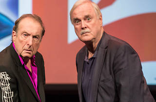 Founding Monty Python members John Cleese and Eric Idle on stage