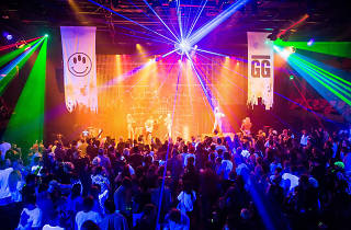 Colourful lights at the Goodgod Super Club at Vivid Live 2016