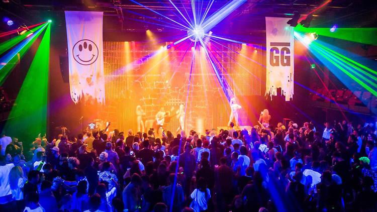 Colourful lights at the Goodgod Super Club at Vivid Live 2016