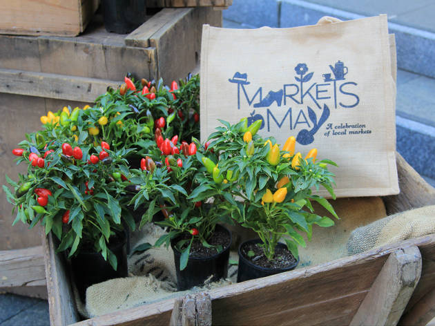 Markets in May canvas bag and flowers in a wooden wheelbarrow