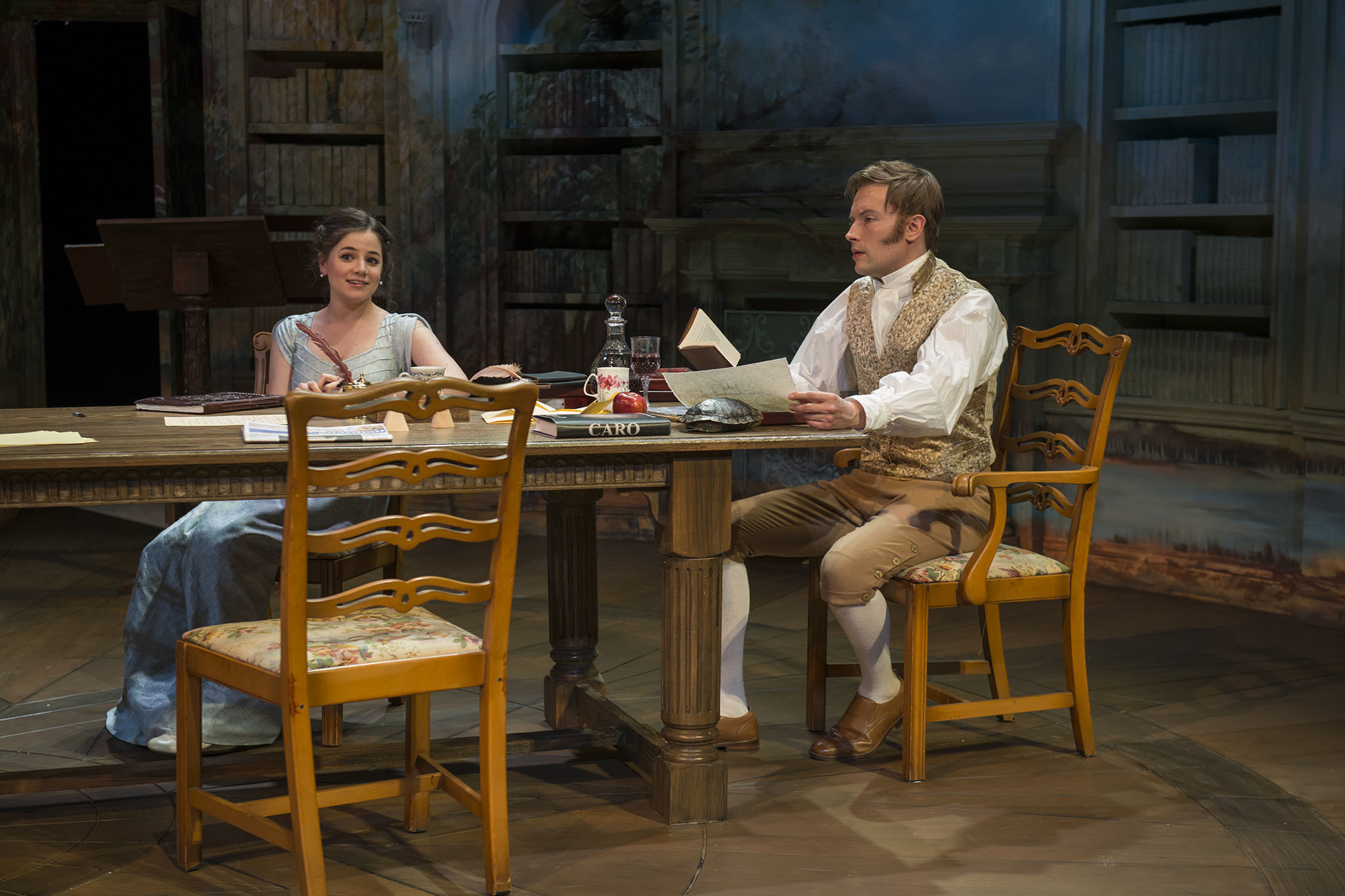 Elizabeth Stenholt and Greg Matthew Anderson in Arcadia at Writers Theatre