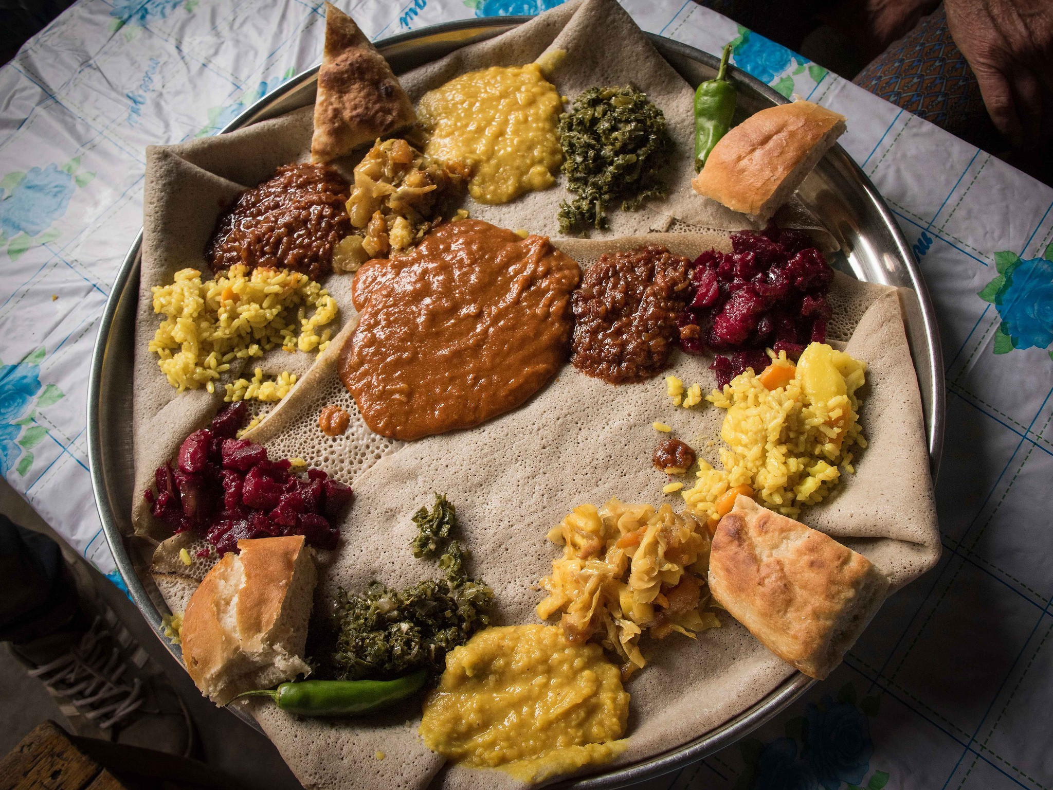 Traditional Ethiopian curries served on injera flatbread