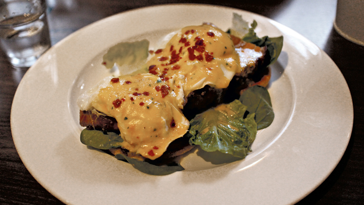 Pork belly eggs Benedict