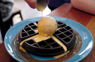 FATCAT Ice Cream Bar, Gourmet waffles with salted egg yolk sauce
