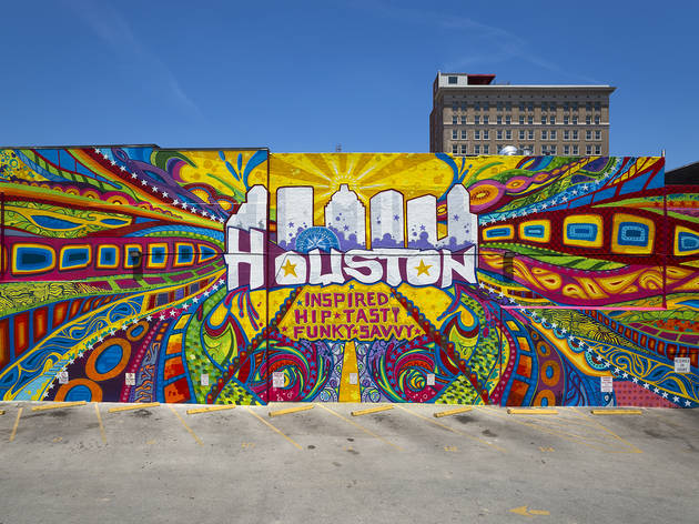 Graffiti artist GONZO247 created a large mural in Downtown Houst