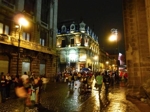 Mexico City street at night