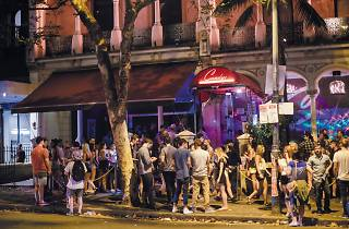 A crowd outside Candy's nightclub