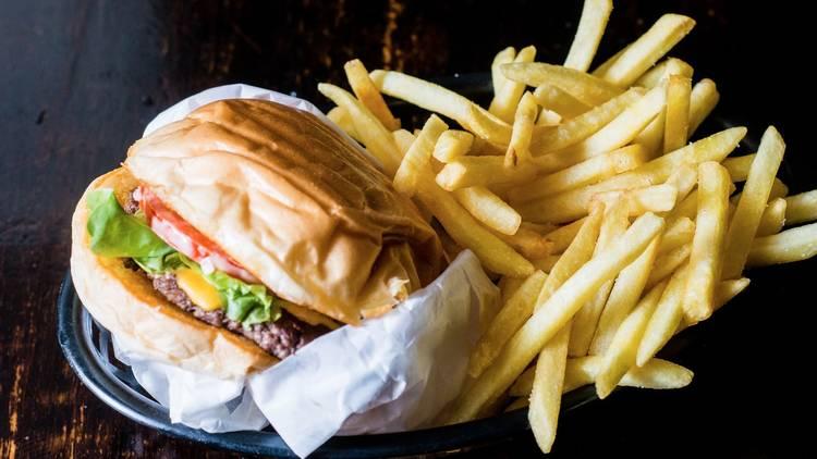 Burger and fries at Mary's