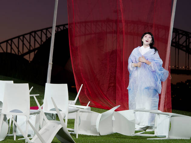 Handa Opera on Sydney Harbour 2014 Madama Butterfly production image 01 feat Hiromi Omura as Butterfly photo credit James Morgan Courtesy Opera Australia