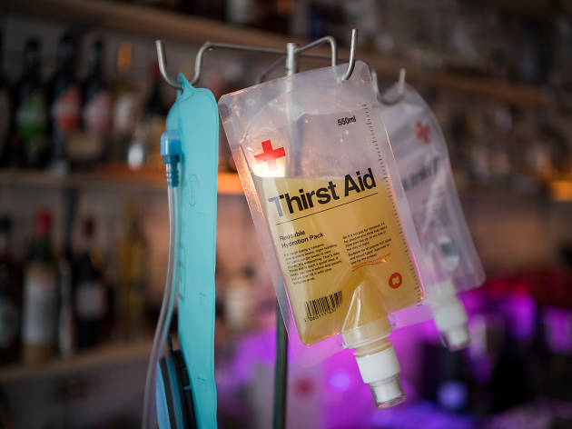 quirky bars and pubs in london, first aid box