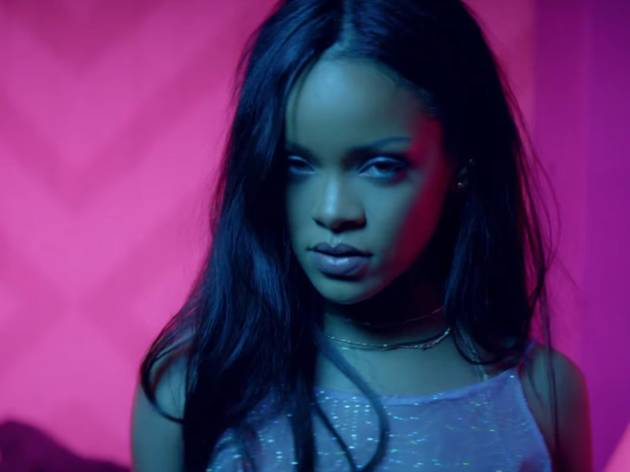 Rihanna looking to the camera in video clip for 'Work'