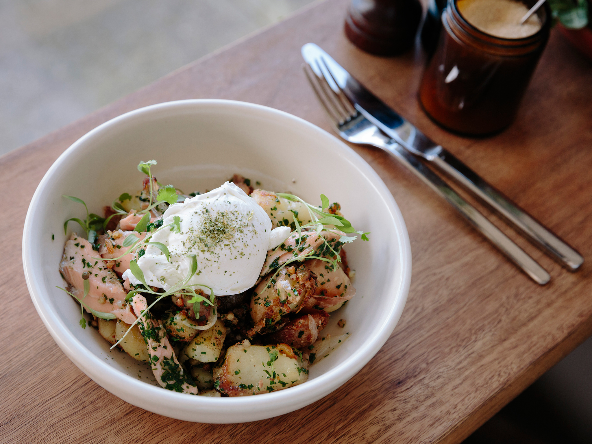 Salmon hash at Excelsior Jones