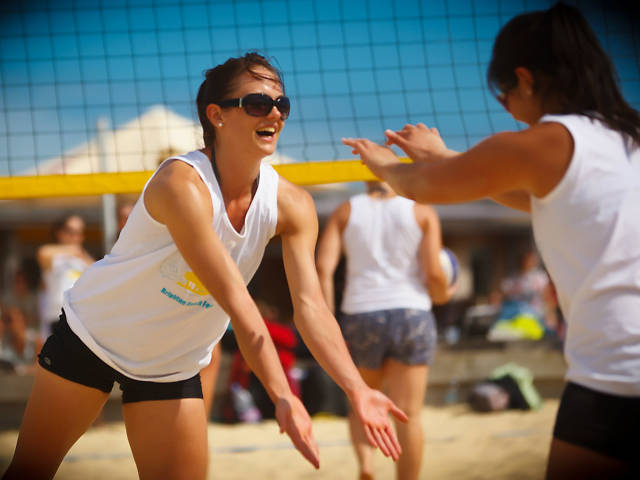 Playing volleyball, California-style
