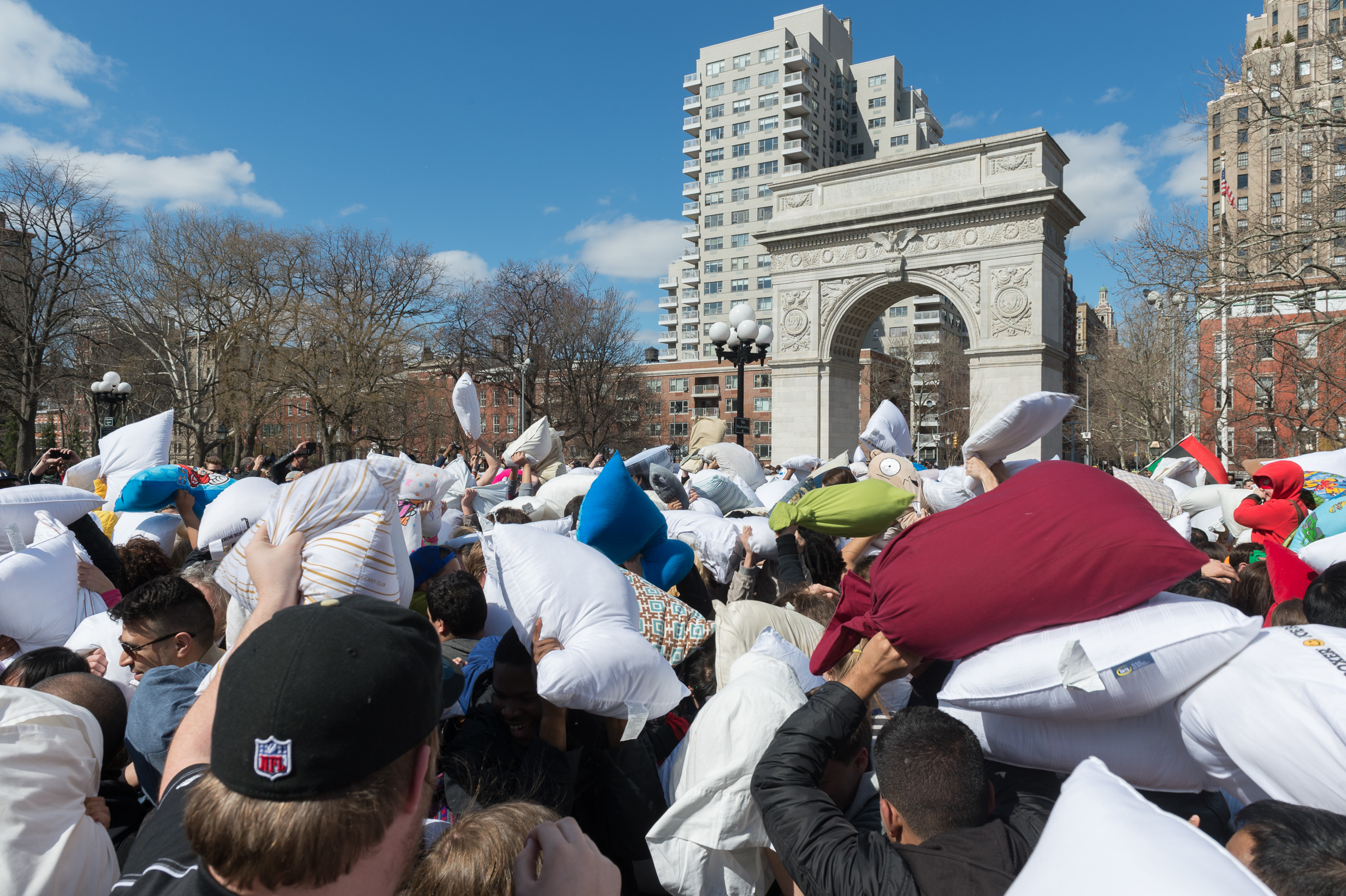 A massive pillow fight will take over Washington Square Park this weekend
