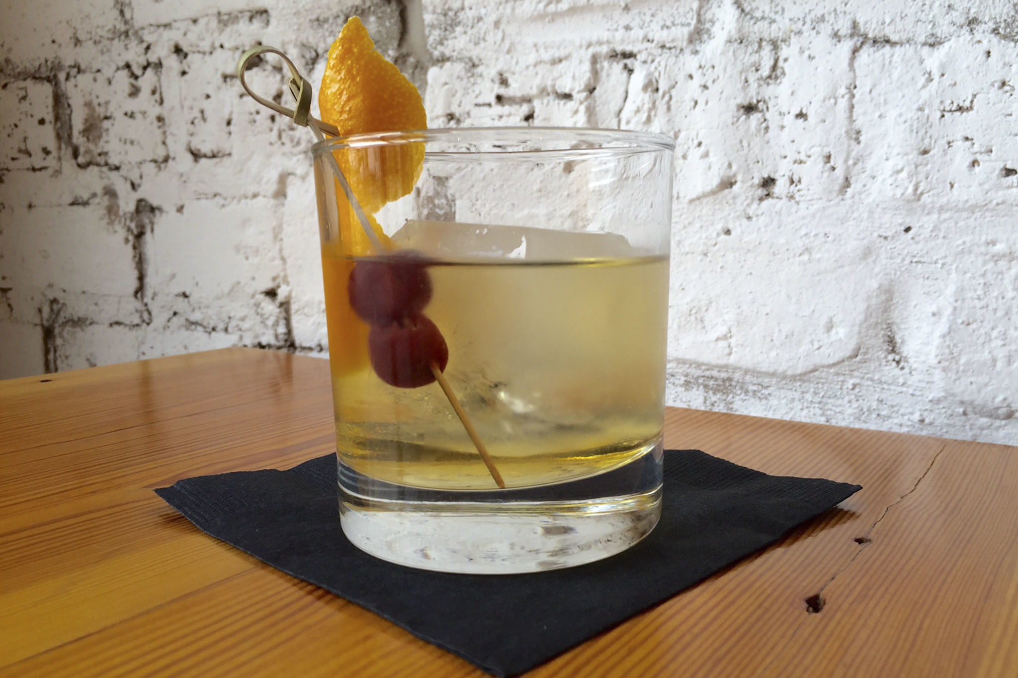 Barrel Aged Gin Old Fashioned at Pearl's Southern Comfort