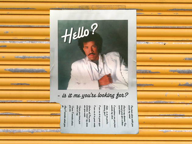 Lionel Ritchie on a poster with tear-off numbers