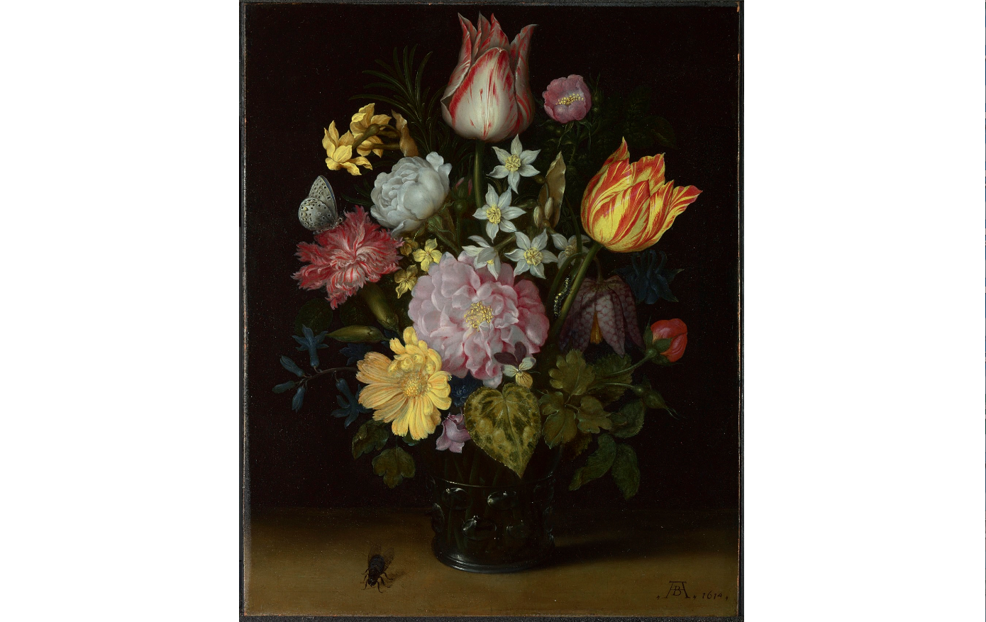 (Ambrosius Bosschaert the Elder: 'Flowers in a Glass Vase', 1614. © The National Gallery, London)