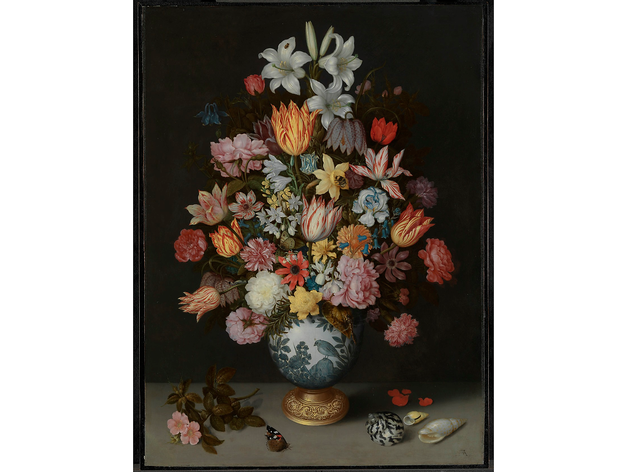 (Ambrosius Bosschaert the Elder: 'A Still Life of Flowers in a Wan-Li Vase on a Ledge with further Flowers, Shells and a Butterfly', 1609-10. © The National Gallery, London)
