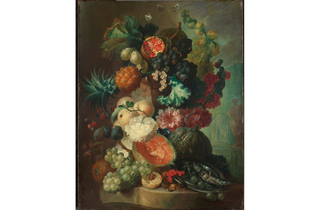 (Jan van Os: 'Fruit, Flowers and a Fish', 1772. © The National Gallery, London)