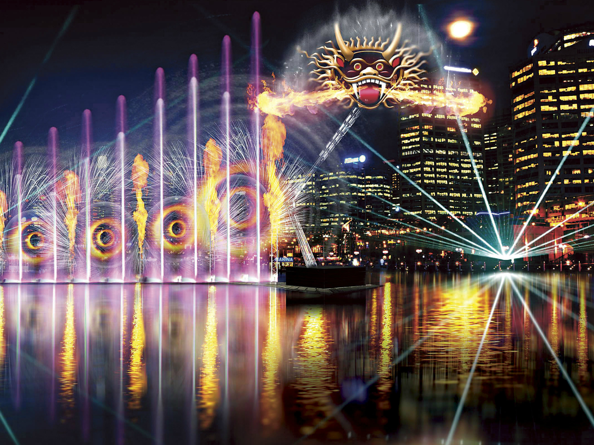 Artist impression of light water fountain in Darling Harbour
