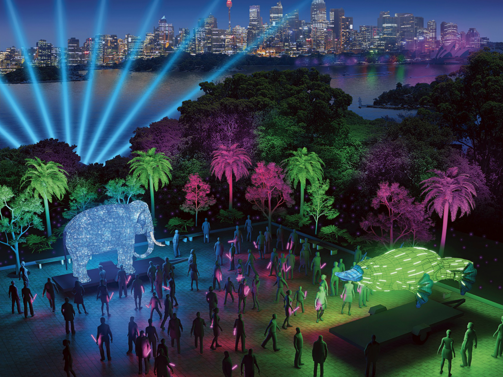 You can dine with the (illuminated) animals during Vivid at Taronga Zoo