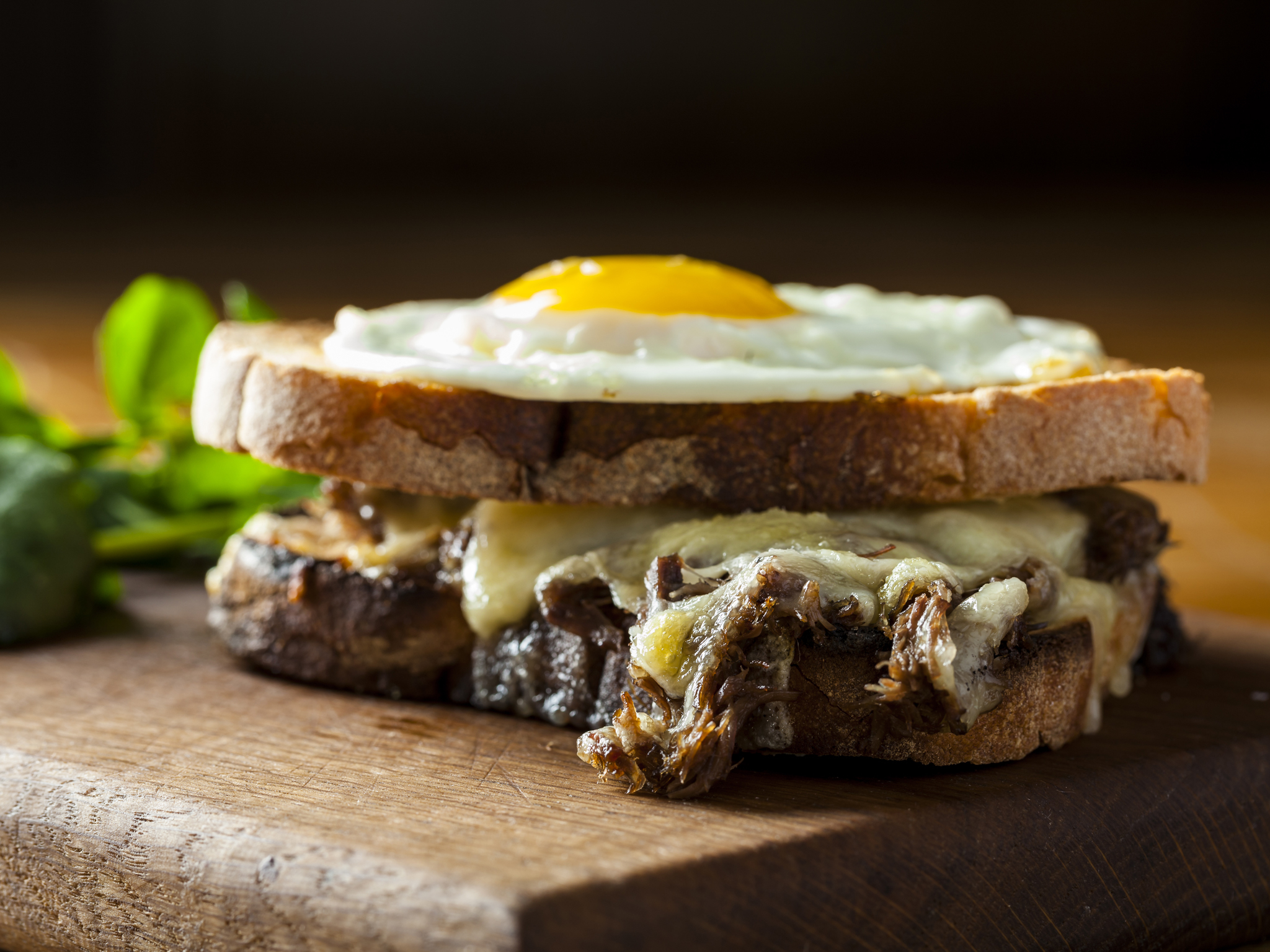 Ox cheek grilled cheese sandwich at Duck and Waffle