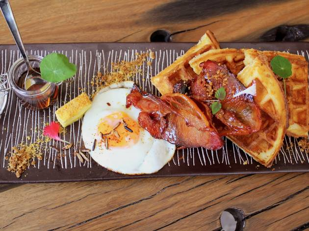White Taro Bacon Waffles