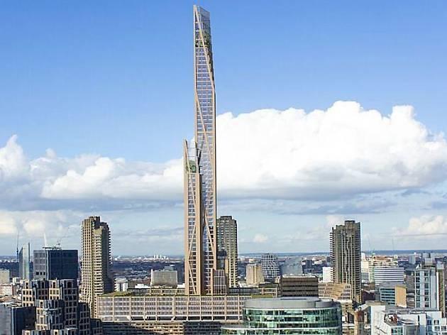 Wooden skyscraper concept for Barbican