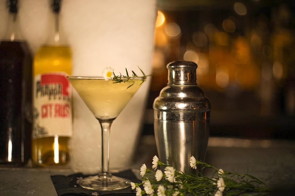 Chamomile & Thyme house-infused vodka martini at Pravda