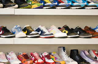 Three rows of colourful sneakers