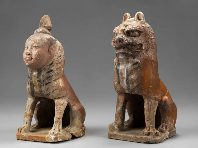 Tang treasures from the silk road capital 2016 exhibition Art Gallery of NSW image of two tomb guardians 618-650s