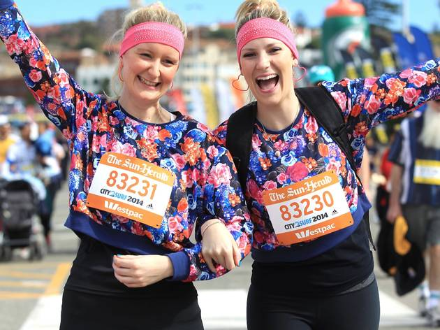 Two female runners during the City2Surf race